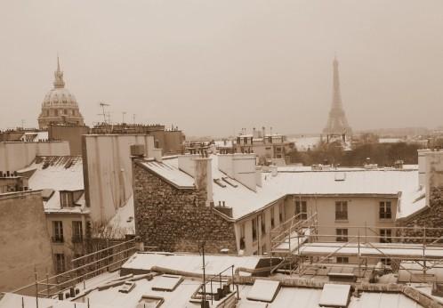 Paris sous la neige Invalides et Tour Eiffel