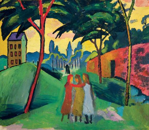 Macke Paysage avec trois jeunes filles