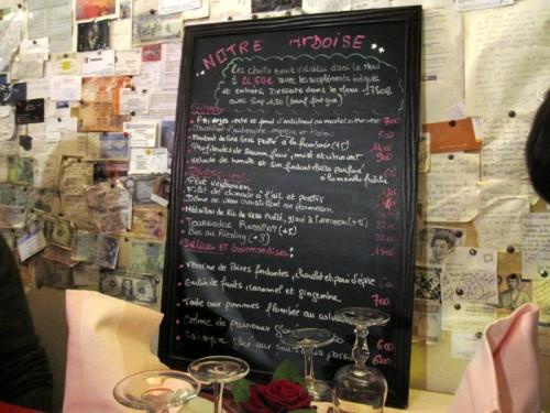 Carte restau chez bibi paris