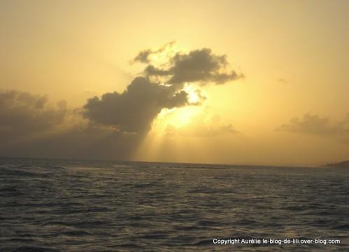 coucher soleil Guadeloupe catamaran