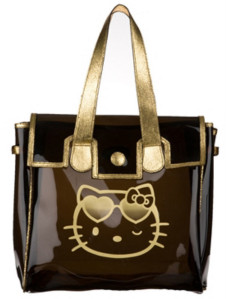 Sac transparent noir et or Victoria couture Hello Kitty