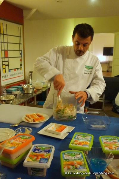 Confection de lasagnes au surimi par le chef Jérôme Bertin