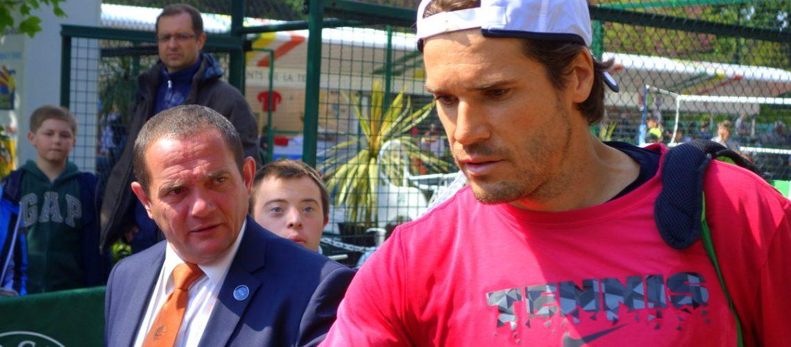 Le joueur de tennis allemand Tommy Haas à la journée des enfants de Roland Garros en 2013