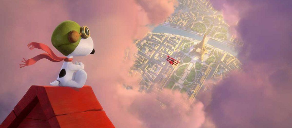 Snoopy survole Paris en avion