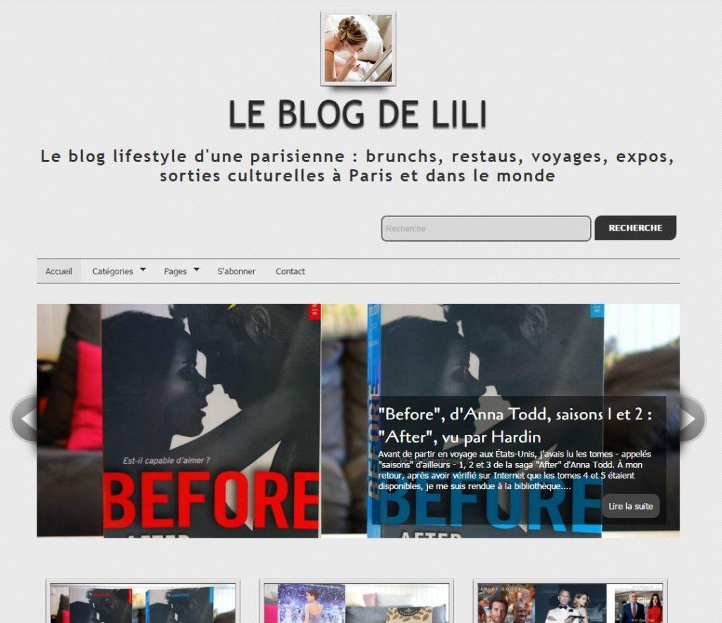 Page d'accueil du blog de Lili hébergé sur OverBlog au printemps 2016