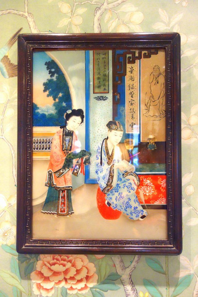 Les gravures reflètent les chinoiseries que l'on peut découvrir à l'hôtel Daniel à Paris