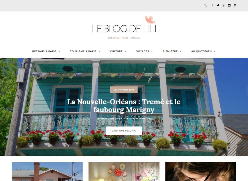 La toute nouvelle page d'accueil du blog de Lili sur WordPress