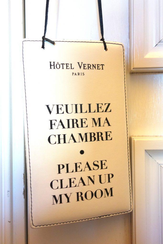 Veuillez faire ma chambre, hôtel Vernet, Paris