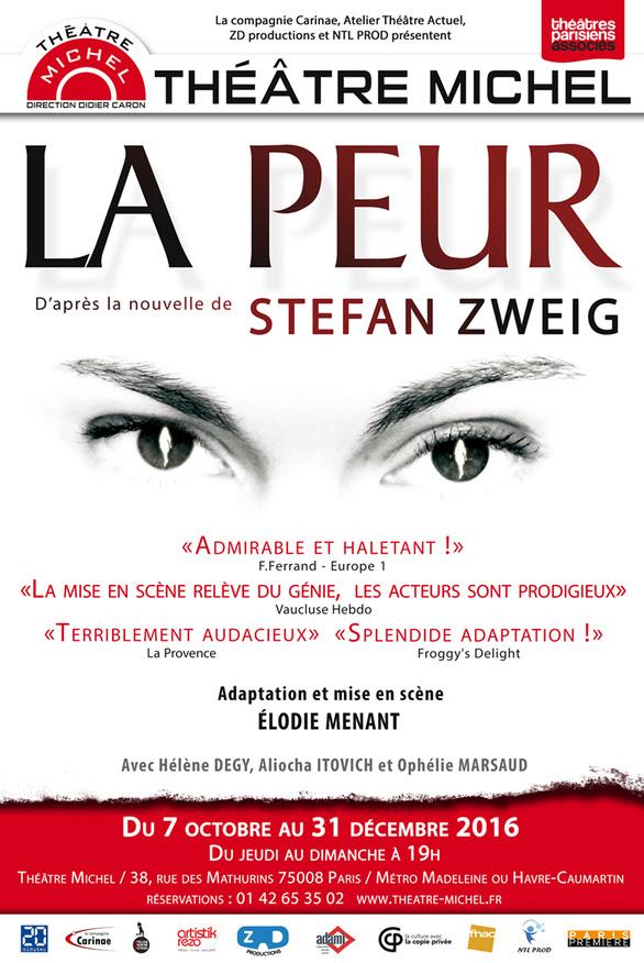 """Affiche de """"La Peur"""" de Stefan Zweig au théâtre Michel"""