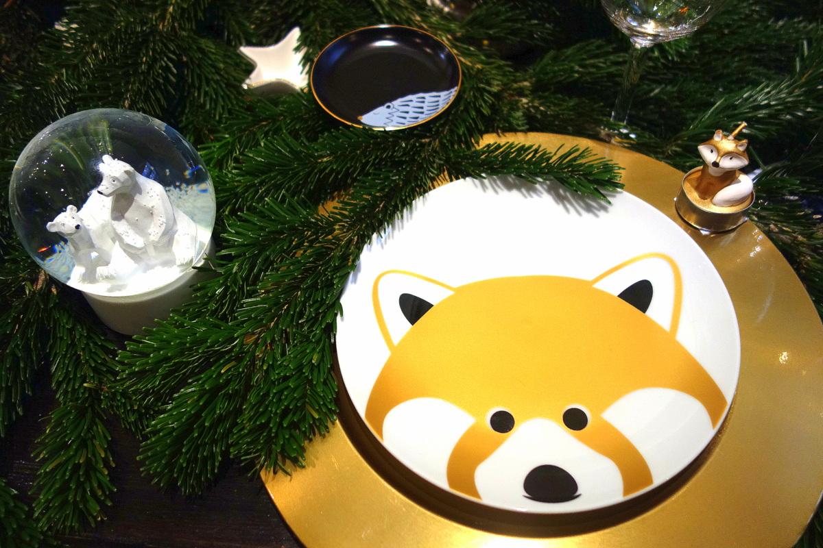 Monoprix Noël 2017 - Assiette de table de fêtes renard