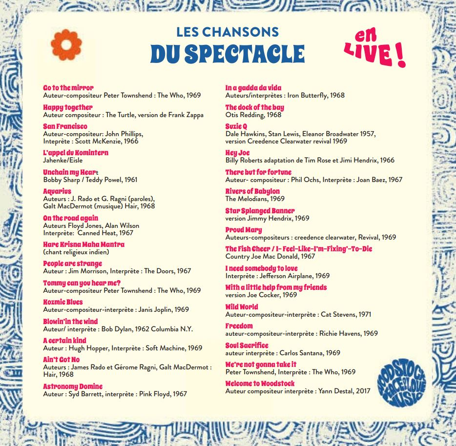 "Les chansons du spectacle ""Welcome to Woodstock"""