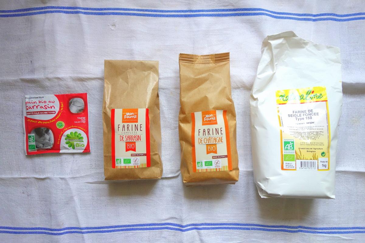 Farines variées venant de magasins bio