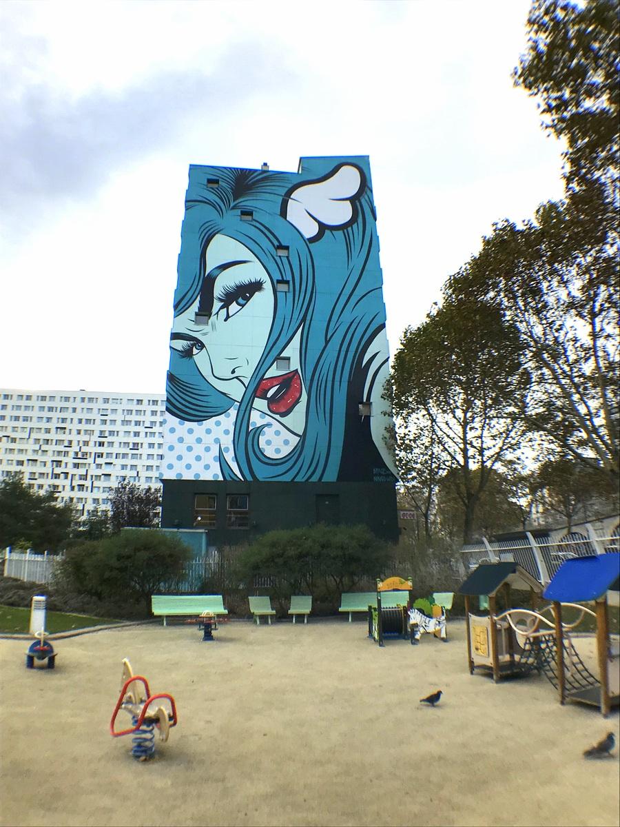 Grand angle Pixter test Paris XIIIe street art