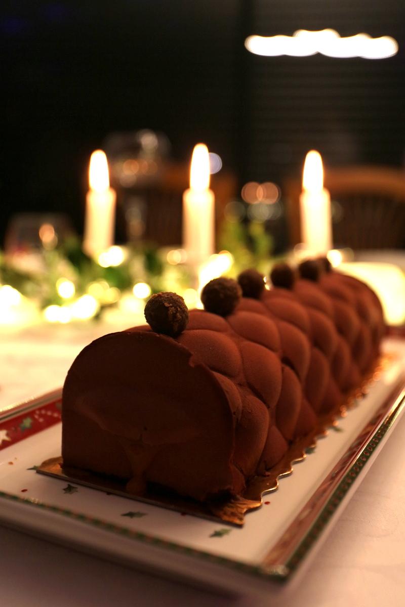 La bûche maison chocolat-fruits exotiques