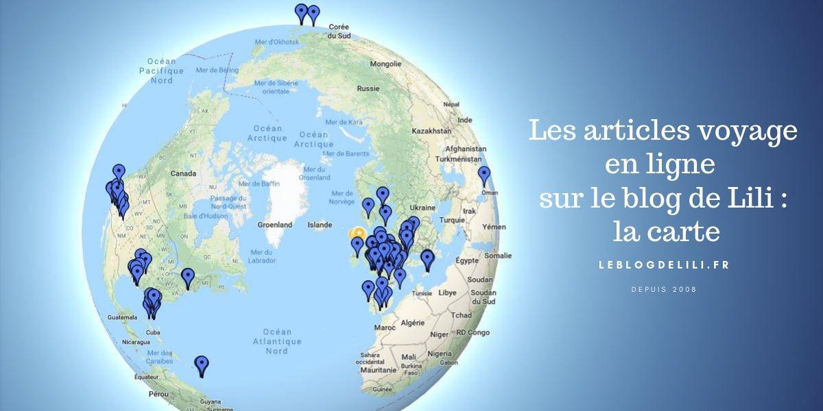 Carte des articles voyage du blog de Lili